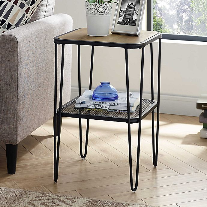 Alternate image 1 for Forest Gate Urban Industrial Side Table with Hairpin Legs in Rustic Oak