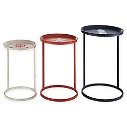 Linon Home Bay Nautical Nesting Tables in Blue/Red/White (Set of 3)