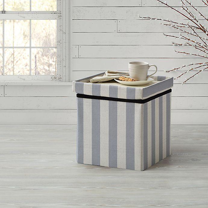 Alternate image 1 for Bee & Willow Home™ Linen Upholstered Stripe Ottoman in Blue