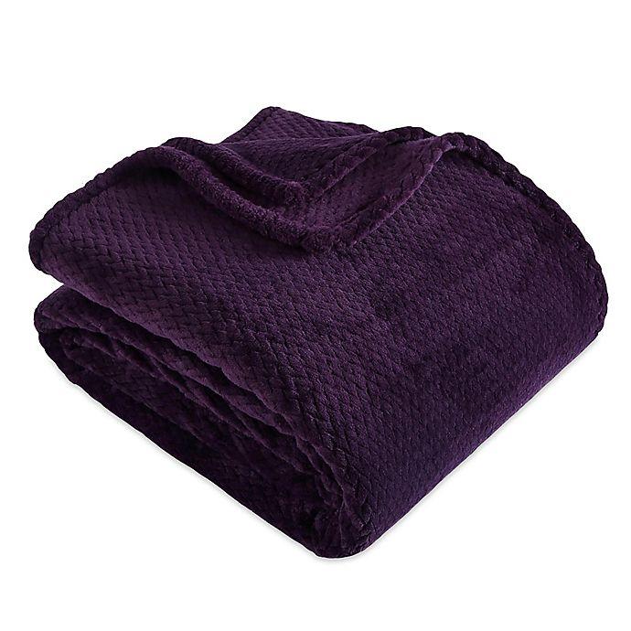 Alternate image 1 for Berkshire Blanket® Braided VelvetLoft® Full/Queen Blanket in Majestic Purple