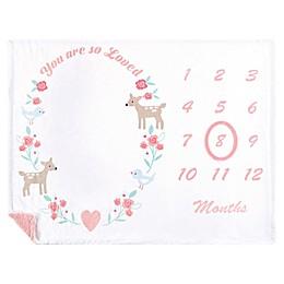 Hudson Baby® Girl Woodland Milestone Blanket in Pink