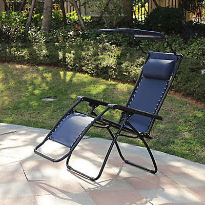 Winsome House® Zero Gravity Outdoor Recliner Chair with Canopy