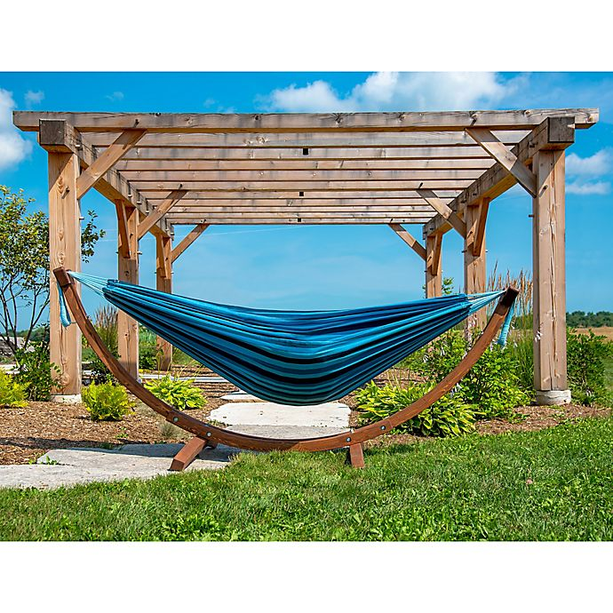 Alternate image 1 for Vivere Blue Multicolor Double Cotton Hammock with Solid Pinewood Stand
