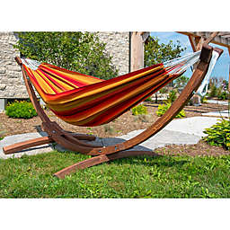 Vivere Red Multicolor Sunbrella® Double Hammock with Solid Pinewood Stand