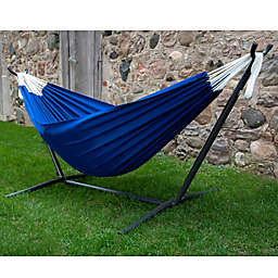 Vivere 9-Foot Double Hammock in Polyester Fabric with Stand in Royal Blue