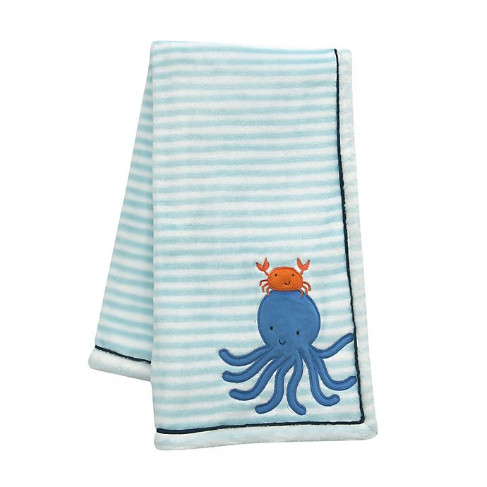 Alternate image 1 for Lambs & Ivy® Ocean Blue Baby Blanket in Blue/White