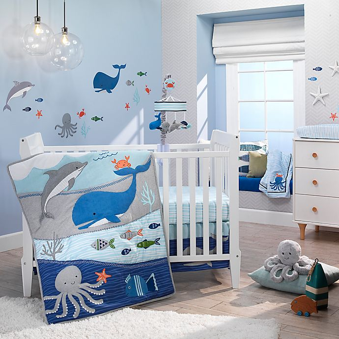Alternate image 1 for Lambs & Ivy® Ocean Blue 4-Piece Crib Bedding Set in Blue/White