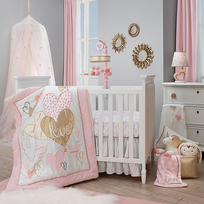 Lambs Ivy Layla 4 Piece Crib Bedding Set In Pink Golden Bed Bath Beyond