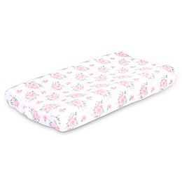 The Peanut Shell™ Farmhouse Floral Changing Pad Cover in Pink/Green