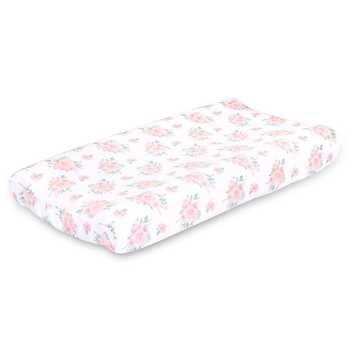 Alternate image 1 for The Peanut Shell™ Farmhouse Floral Changing Pad Cover in Pink/Green