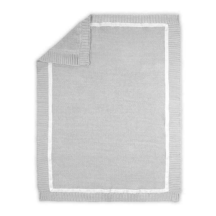 Alternate image 1 for The Peanutshell™ Farmhouse Knit Baby Blanket in White/Grey