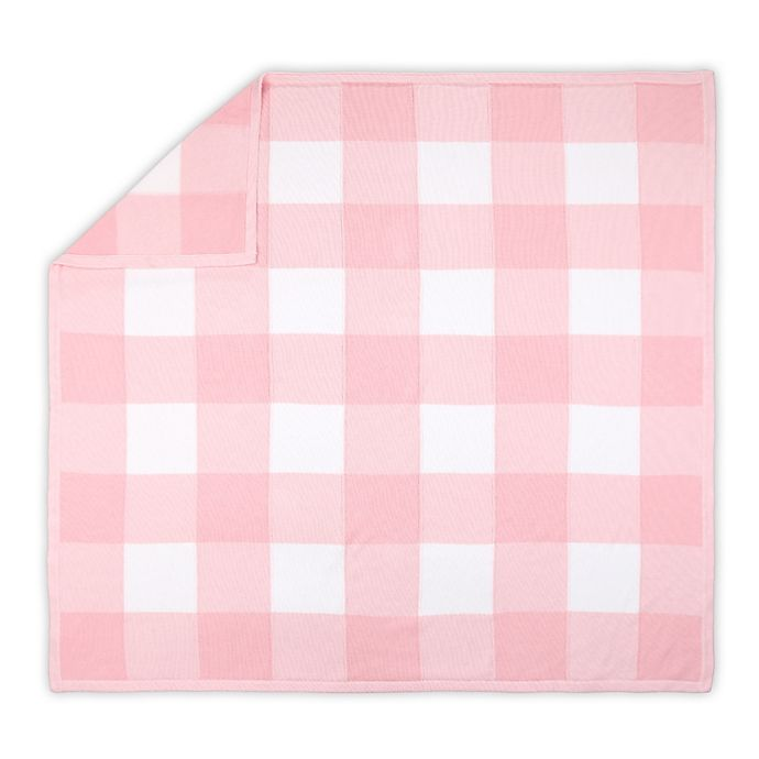 Alternate image 1 for The Peanutshell™ Farmhouse Knit Baby Blanket in Pink Check