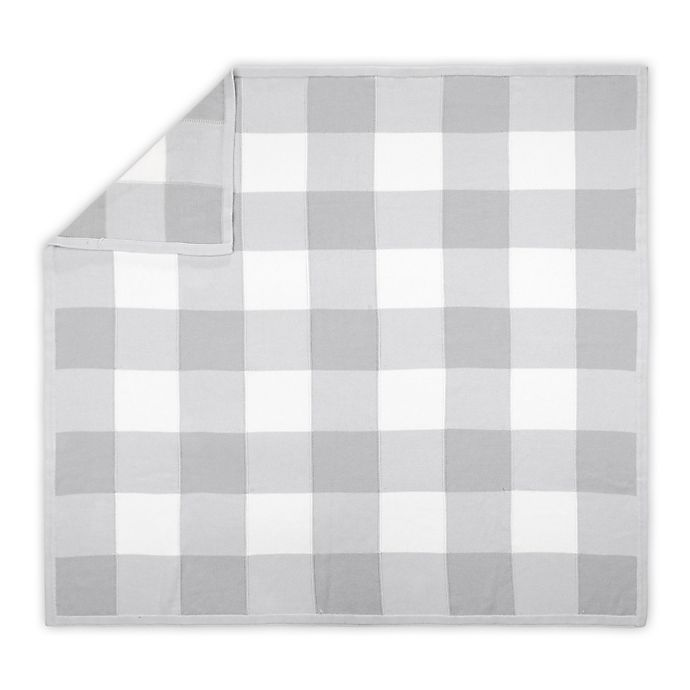 Alternate image 1 for The Peanutshell™ Farmhouse Check Baby Blanket in White/Grey
