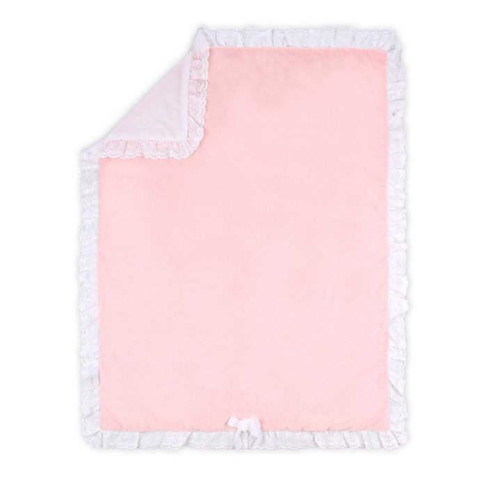 Alternate image 1 for The Peanutshell™ Farmhouse Crystal Velour Baby Blanket in Pink/White