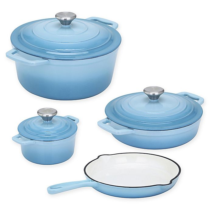 Alternate image 1 for CS Kochsysteme™ XANTEN Enameled Cast Iron 7-Piece Cookware Set in Light Blue