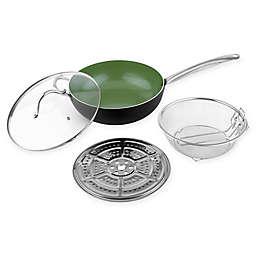 CS Kochsysteme™ GRUNSTADT Ceramic-Coated Aluminum 4-Piece Wok Set in Green