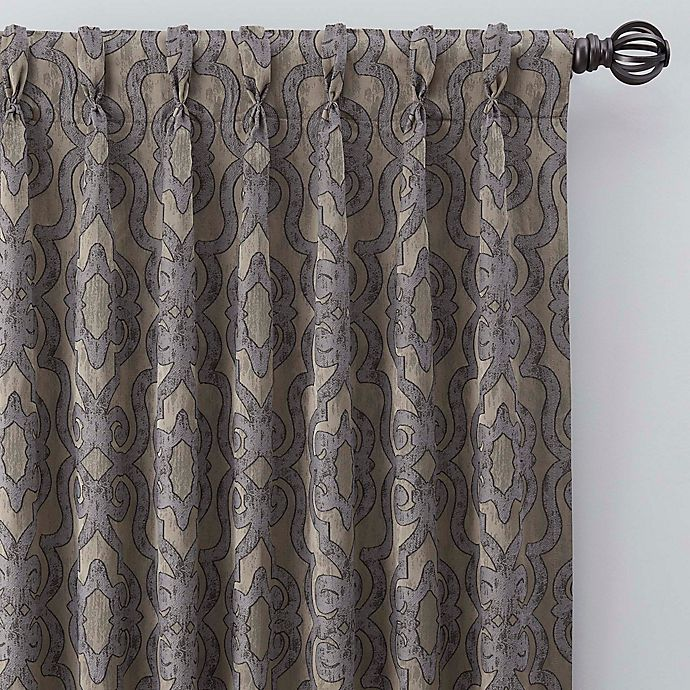 Alternate image 1 for Gate Jacquard 108-Inch Pinch Pleat Window Curtain Panel in Antique