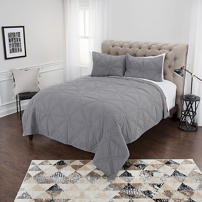 Alternate image 1 for Rizzy Home Simpson Twin XL Quilt Set in Grey