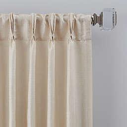 Grid 63-Inch Pinch Pleat Window Curtain Panel in Ivory (Single)