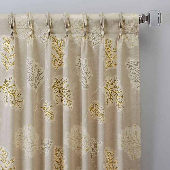 Alternate image 1 for Leaf Motif 108-Inch Pinch Pleat Window Curtain Panel in Natural