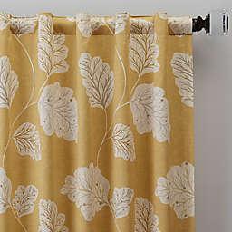 Leaf Motif Rod Pocket/Back Tab Window Curtain Panel (Single)