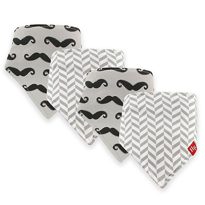 Alternate image 1 for Hudson Baby® 12-Pack Mustache Bandana Bibs in Grey Hudson Baby