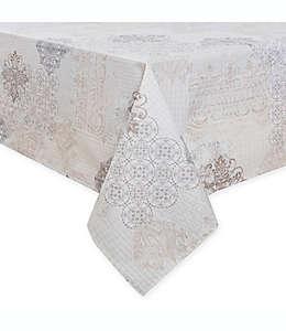 Mantel rectangular plastificado con diseño de parches, 1.52 x 3.04 m en crema