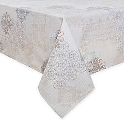 Patchwork Laminated Fabric Tablecloth in Cream
