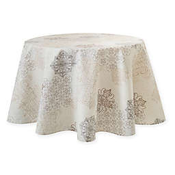 Patchwork Laminated Fabric 70-Inch Round Tablecloth in Cream