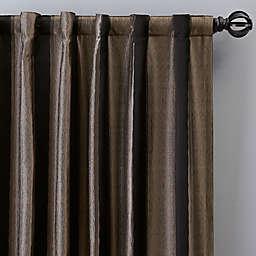 Luxe Wide Stripe 108-Inch Rod Pocket/Back Tab Window Curtain Panel in Onyx