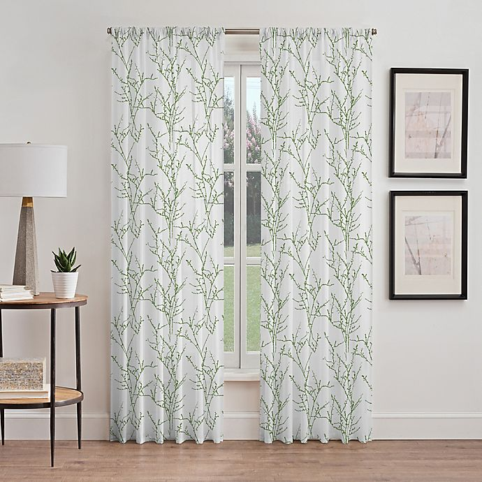 Alternate image 1 for Stella Sheer 63-Inch Rod Pocket Window Curtain Panel in Green