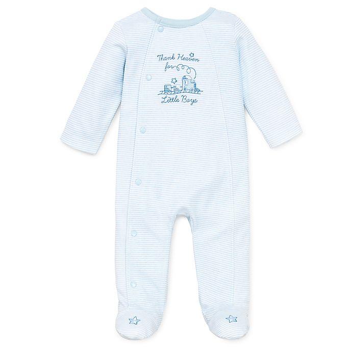 Alternate image 1 for Little Me® Size Preemie Thank Heavens Footie in White/Skylight Blue