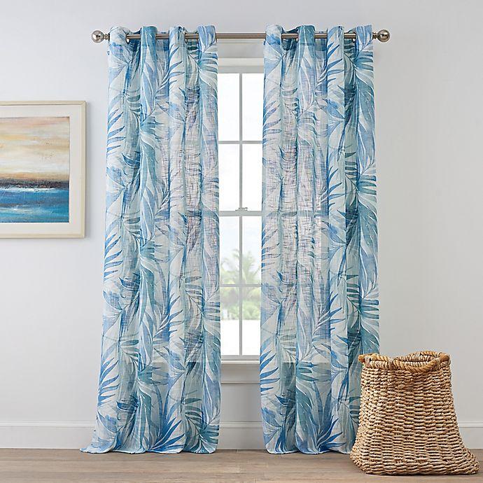 Coastal Living Palm Leaf Grommet Panel In Blue Bed Bath