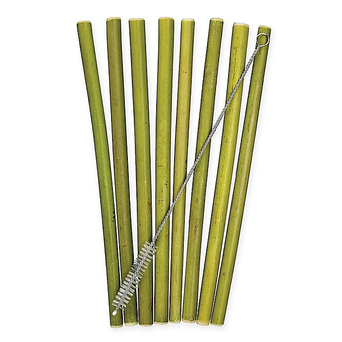 Alternate image 1 for Totally Bamboo® Bamboo Drinking Straws with Cleaning Brush (9-Piece Set)