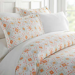 Luxury Inn Home Collection Aztec Dream Patterned 2-Piece Duvet Cover Set in Coral
