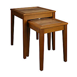 Casual Home Lincoln Nesting Tables with Concealed Compartment in Antique Walnut (Set of 2)