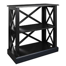 Casual Home Jackson 3-Shelf Bookcase with Concealed Drawer in Black