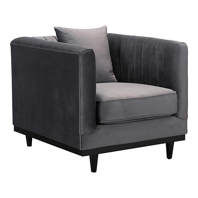 Alternate image 1 for Zuo® Garland Velvet Arm Chair in Grey