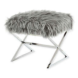 Inspired Home Maggie Faux Fur Ottoman in Grey/Chrome