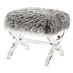 Inspired Home Ray Faux Fur Ottoman