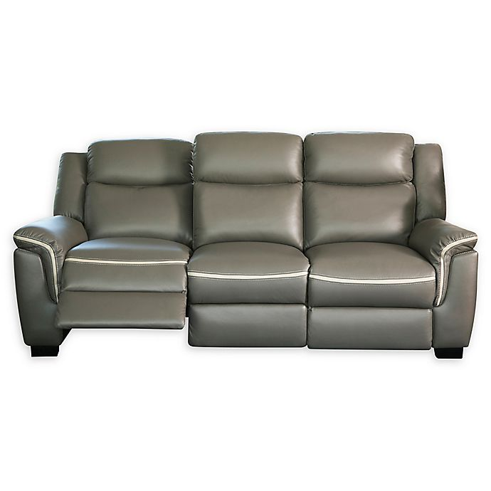 Cool Abbyson Living Rylee Leather Power Reclining Sofa In Grey Caraccident5 Cool Chair Designs And Ideas Caraccident5Info