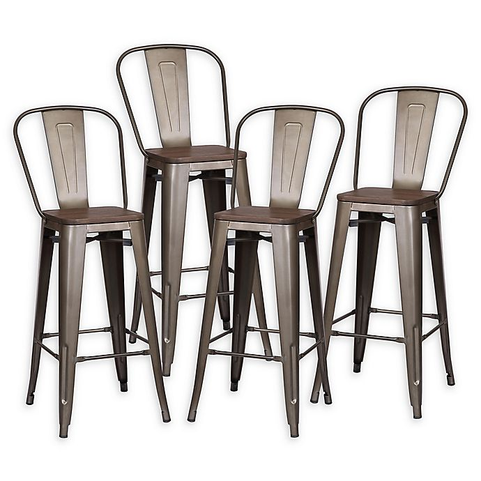 Alternate image 1 for Poly and Bark Trattoria Bar Stools in Bronze/Elm (Set of 4)
