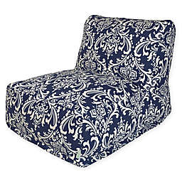 Majestic Home Goods French Quarter Bean Bag Lounger Chair in Navy