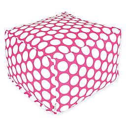 Majestic International Large Polka Dot Bean Bag Ottoman in Hot Pink