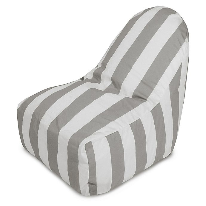Alternate image 1 for Majestic International Vertical Stripe Bean Bag Kick-It Chair in Grey