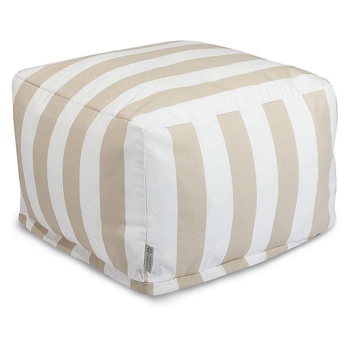 Alternate image 1 for Majestic International Vertical Stripe Bean Bag Ottoman in Sand
