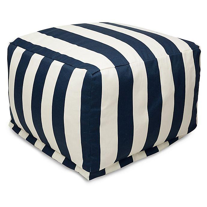 Alternate image 1 for Majestic International Vertical Stripe Bean Bag Ottoman in Navy
