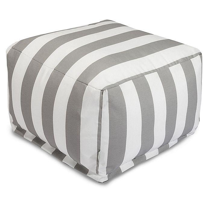 Alternate image 1 for Majestic International Vertical Stripe Bean Bag Ottoman in Grey