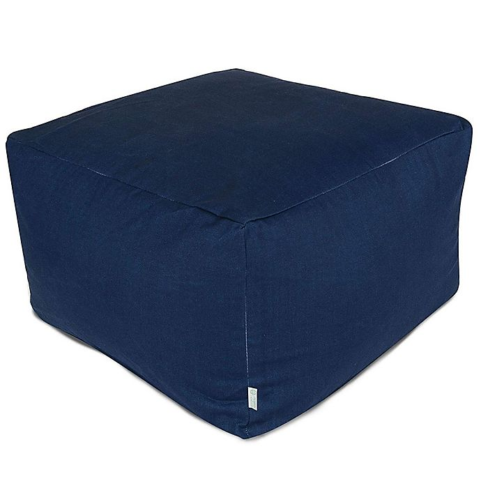 Alternate image 1 for Majestic Home Goods Solid Color Bean Bag Ottoman in Navy Blue