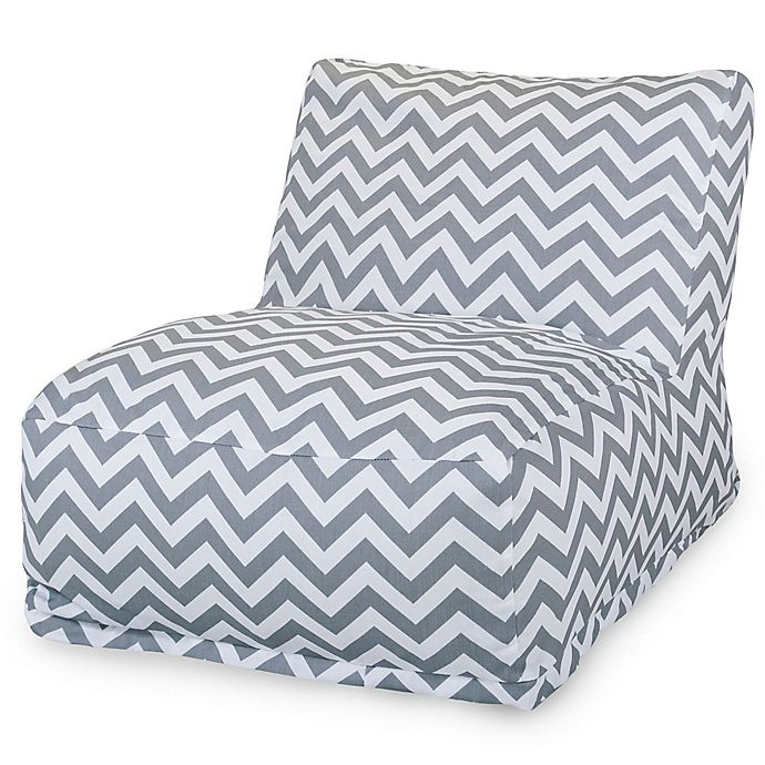 Alternate image 1 for Majestic Home Goods Chevron Bean Bag Chair Lounger in Grey